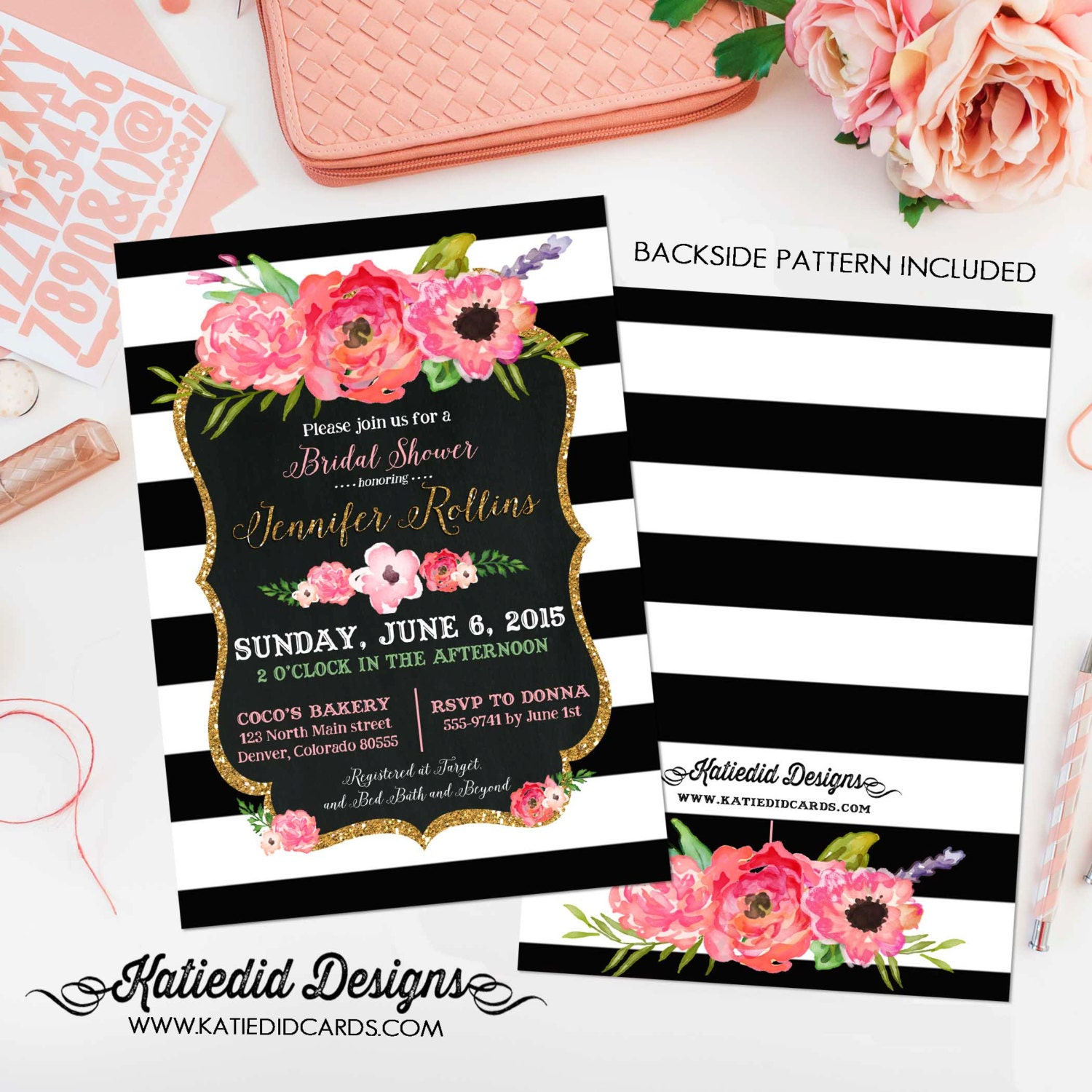 couples shower invitation bridal baby coed floral wedding stock the ...