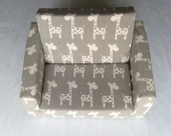 "Flipout  Sofa Cover,   ""Giraffe""Kids Couch Cover,Folding day bed cover ,  Fabric couch cover,   Foam couch cover"