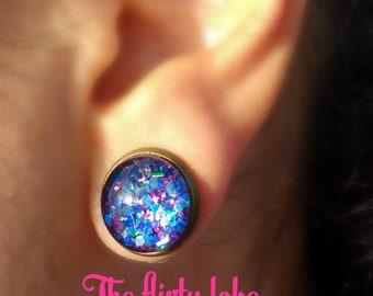 Free shipping mermaid earrings mermaid gift mermaid jewelry galaxy earrings space earrings space jewelry 12 mm cabochon earrings novelty