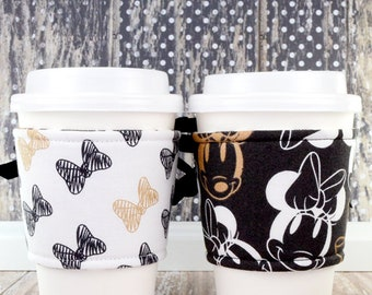 Minnie Mouse Cup Cozy // Metallic Champagne Carbon Minnie Cup Cozy // reversible // adjustable // eco-friendly // drink sleeves // reusable