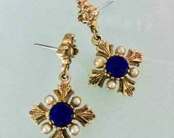 Vintage MALTESE LAPIS LAZULI EARRINGs Royal Blue Lapis Stones Pearls Antiqued Gold Tone Maltese Cross Chic Detailed Pierced Drops