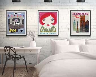 England Travel Art Poster Set England Wall Art England Posters London Posters English Decor English Art English Style - 3 Print Poster Set & English Art English Countryside Art European Art Rustic