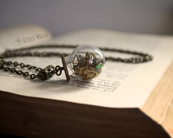 Recycled Watch Parts in Glass Globe Necklace Gears Recycled Jewellery Upcycled Necklace Steampunk Necklace Terrarium Necklace Time Watchwork