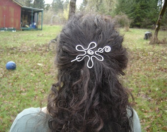 Groovy Flower Hair Slide, Hair Clip, Hair Barrette, Shawl Pin, Hair Pin, Sweater Brooch Gift for Her Closure Light Weight Hair Accessories