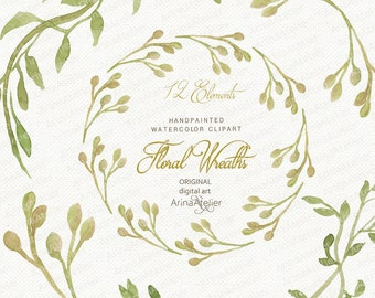 Floral Wreaths WATERCOLOR Clipart - Laurel Watercolor Wreaths - DIY Invitations, Digital wreaths, Wedding Garlands, Floral garlands, Clipart