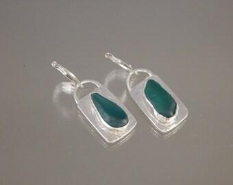 teal sea glass earrings in fine silver