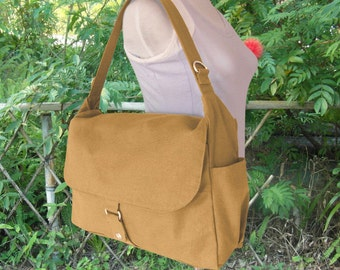Yellow canvas messenger shoulder bag crossbody bag messenger bag men satchel diaper bag mens travel bag hobo bag laptop bag, gift for him