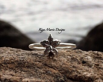 Lotus Flower Ring, little flower ring, Skinny band stack ring, Sterling Silver Argentium Silver Stack Rings, Nature flower rings