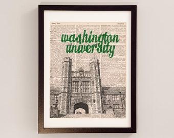 Washington University Dictionary Art Print - Brookings Hall, St. Louis Art - Print on Dictionary Paper - WUSTL, WashU Bears, Graduation