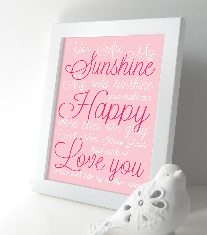 My Baby Girl S Nursery: You Are My Sunshine Baby Girl Nursery Art Print Lullaby Song