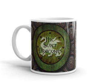 """Latin Steampunk Mug - """"Here there are dragons"""""""