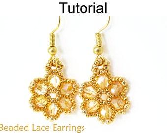 Beaded Earring Patterns - Beading Tutorial - Beaded Flower - Bridal - Wedding - Simple Bead Patterns - Beaded Lace Earrings #270