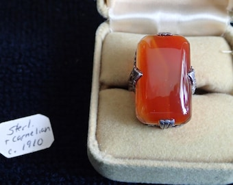 Antique Edwardian Sterling & Carnelian Ring (PRICE CORRECTION!)