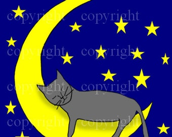 Instant Download, Printable Art, Cat Sleeping Moon, Stars, Digital. 4x4