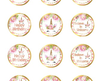 INSTANT DOWNLOAD/Unicorn Faces Happy Birthday /Pink,Gold /Digital Cupcake Topper Image Sheet/ 2 Inch Circles /8.5x11 Collage Sheet / # CT161