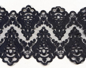 Vintage style alencon lace trim in black, 7.5 inches width one yard