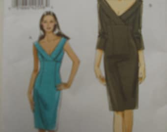 Vogue 8532 / Very Easy Vogue /  dress pattern / Sheath dress / deep v neckline / sleeveless / 3/4 length sleeves / collar / low neck