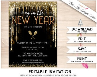 New Years Eve Invite Etsy - New year invitation template