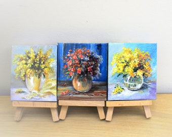 Mini Painting , Miniature,Bouquets, Original Small Painting , Oil Mini Painting on Canvas , Mother's day gifts