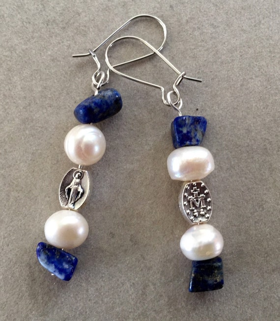 Ave Maria FaithCrafts Pearl and Lapis Miraculous Medal Earrings