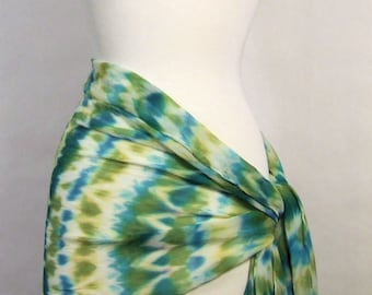 Hand Dyed Silk Chiffon Wrap Shawl Long Scarf Arashi Shibori Green Blue Multicolor Boho