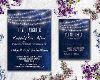 Digital Printable Files - Blue Navy Lights Wedding Invitation RSVP Thank You Invitation Set Wedding Stationery - ID608