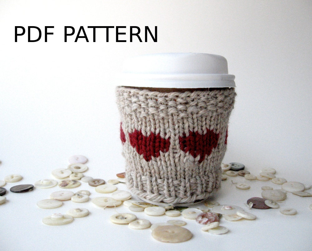 Coffee Sleeve Pattern, Cup Cozy Heart, Valentines Day, Coffee Sleeve ...