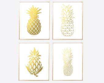 Gold Pineapple Print, Gold Foil Pineapple, Gold Office Print, Pineapple Print Set, Gold Printables, Pineapple Wall Art, Pineapple Decor