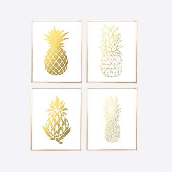 Gold Pineapple Print Foil Office Set Printables Wall Art Decor