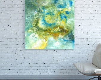 CANVAS PRINT Abstract Wall Art Oversized Large Sky blue Square Turquoise Abstract Wall Art Yellow white Abstract painting Abstract Wall Art