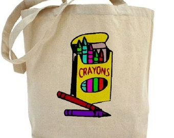 CRAYONS Tote Bag - Kids Tote Bag - Cotton Canvas Tote Bag - Gift Bag - CRAFTS