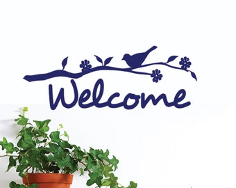 Welcome decal wall quote with bird on branch , nature decor, modern art, front door, entryway decorations