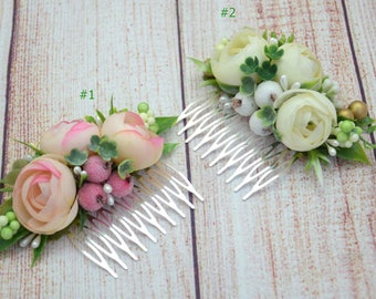 Gift/for/friend Flower comb Beach wedding Mini floral comb Pink flower comb Ivory hair comb Wedding hair accessories Set of combs Hair style