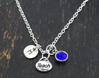 Teach Necklace, Teach Charm, Teach Pendant, Teach Jewelry, Teacher Necklace, Teacher Jewelry, Teacher Gifts Personalized, Mother, Daughter