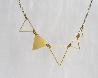Statement Triangle necklace, Geometric necklace, multiple triangle statement necklace, triangle jewelry triangle necklace