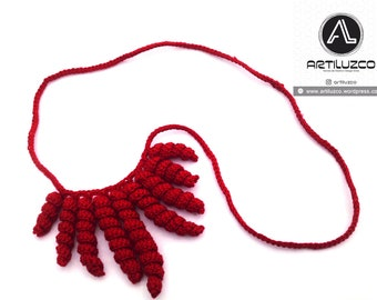 Red Rulino, Crochet necklace, Necklace in natural fibers, Handmade knitted necklace