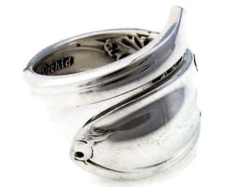 Spoon Ring White Orchid Wrapped  Demitasse Sizes 5 - 8