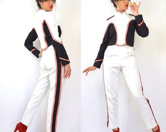 Vintage 80s 90s Marching Band 2-Piece Top and Ultra High Waisted Striped Slacks (size xs, small)