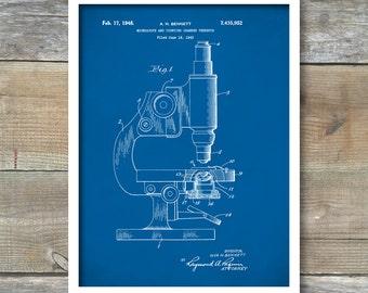 Patent Print, Microscope Poster, Microscope Patent, Microscope Print, Science Art, Microscope Print, Office Decor, Wall Art, P123