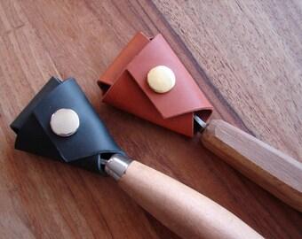 Custom leather spoon / crook knife sheath
