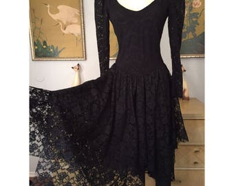 1980s Vintage Black Lace Dress by Scarlett Jrs. -- Fitted Stretch Lace and Unusual Layered Skirt!