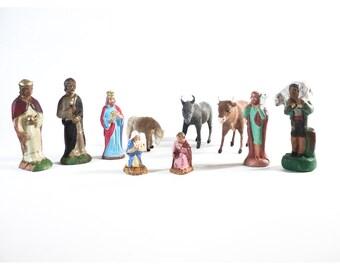 French Nativity Set, Christmas Story, Xmas Creche Scene, Flocked Ox Donkey, Mary & Joseph, Nativity Figurines, Santon de Provence