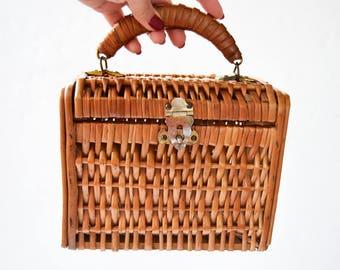 Straw Bag Wicker Bag, Wooden Bag, Straw Bag, Retro Handbags, Vintage Bag