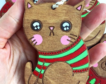 Cat Ornament - Stocking Stuffer Gift for Friend Gifts under 25 Funny Christmas Ornament Wooden Ornament Hand painted Cute Holiday Ornament