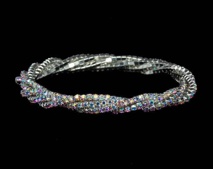 Lana AB Crystal 5 Strand Twist Stretch NPC Bikini Fitness Competition Bracelet