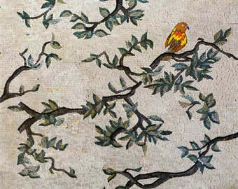 Birds Singing on Tree Marble Mosaic Mural