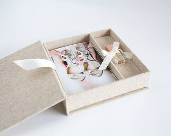 Linen 4x6 Photo proof and USB boxes | Linen Box | Photographers packaging | Wedding usb