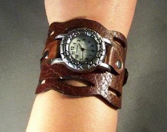Leather Watch-Brown Watch-Wrist Watch-Women Watch-Cuff Watch-Gift For Her-Bracelet Watch-Ladies Watch-Genuine Leather-Friendship Bracelet