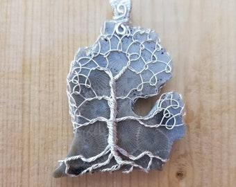 Made To Order Item! Handcarved & Handcrafted, Michigan Mitten Tree Of Life Pendant, Petoskey Stone with .935 Argentium Silver.
