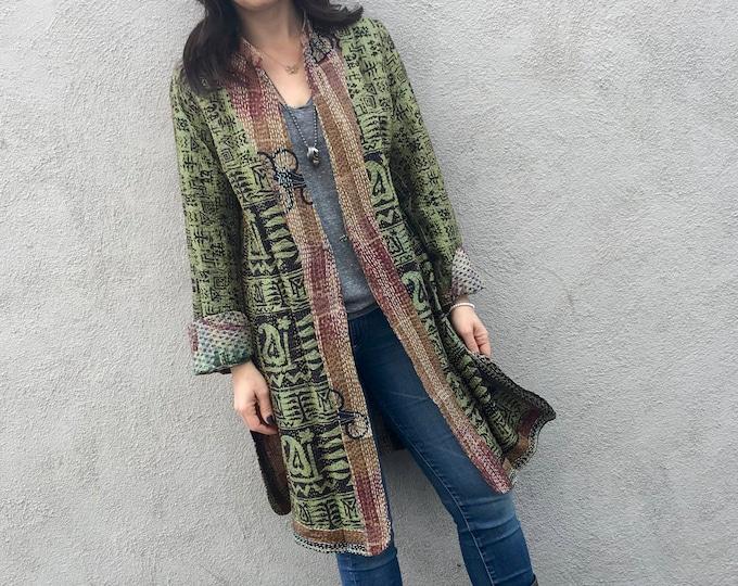 Loden green reversible silk kantha coat